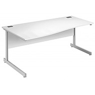 Commerce II Deluxe White Wave Desks