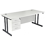 Next Day Karbon K3 Deluxe Fixed Pedestal Cantilever Desks
