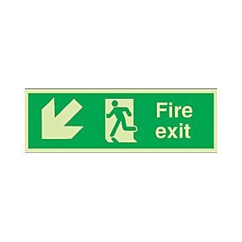 Fire Exit Diagonal Left Down Arrow Gemglow Sign £18 -