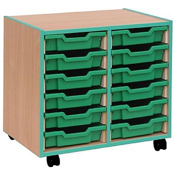 Coloured Edge 12 Tray Shallow Storage Unit £166 -