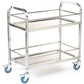 2 Shelf Stainless Steel Trolley