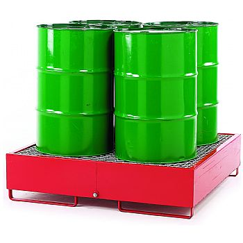 Drum Sump Storage System Loaded - 4 Vertical Drums