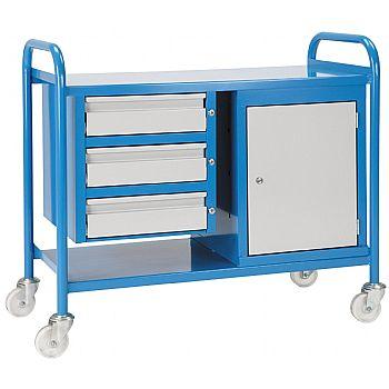 Steel Shelf Trolley 3 Drawers & Cabinet