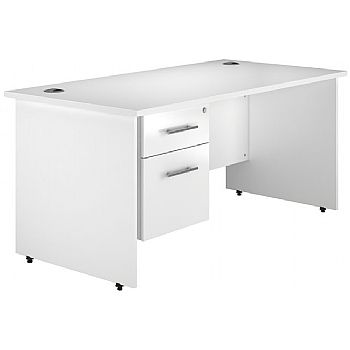 Status White Single Ped Panel End Desk