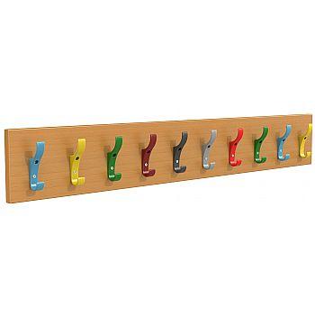 Multi-Coloured Classroom Coat Hook Rails 10