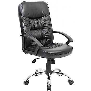 Cadiz Chrome Leather Faced Manager Chair £99 -