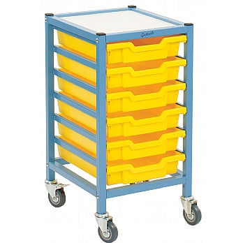 Gratnells Dynamis Collection Low Shallow Tray Single Column Storage Trolley £98 -