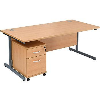 NEXT DAY Karbon K1 Rectangular Cantilever Office Desks with Under Desk Mobile Pedestal £185 -