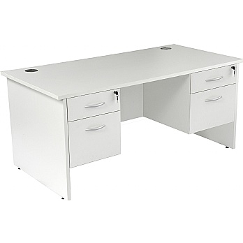 NEXT DAY Karbon K2 Rectangular Panel End Office Desks with Double Fixed Pedestals £285 -