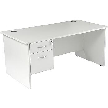 NEXT DAY Karbon K2 Rectangular Panel End Office Desks with Single Fixed Pedestal £179 -