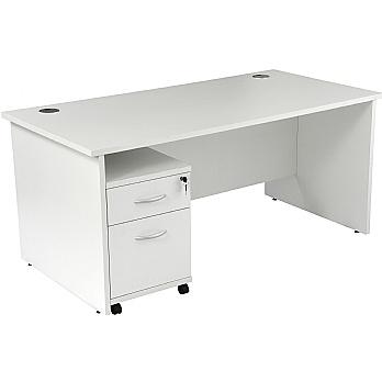 NEXT DAY Karbon K2 Rectangular Panel End Office Desks with Under Desk Mobile Pedestal £185 -