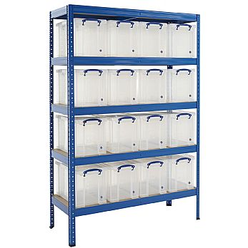 Industrial Shelving Bay With 16 x 24 Litre Really Useful Boxes £249 -