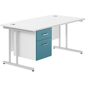 NEXT DAY Kaleidoscope Cantilever Single Fixed Pedestal Desks £230 -
