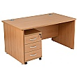 NEXT DAY Karbon K2 Rectangular Panel End Office Desks with Under Desk Mobile Pedestal