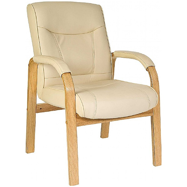 Knightsbridge Cream Leather Faced Visitor Chair