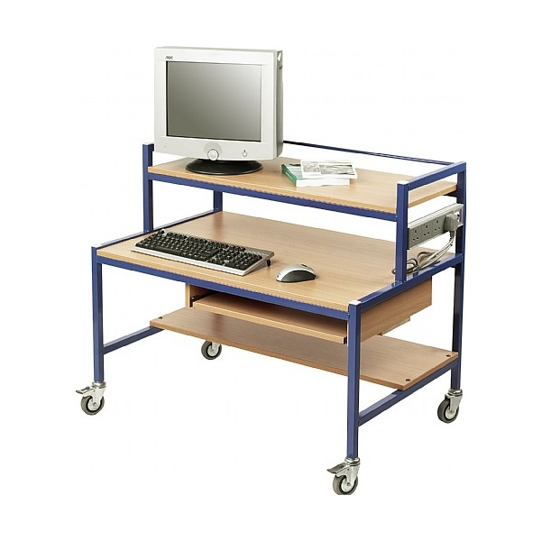 Fixed Height Two Tier Computer Trolleys