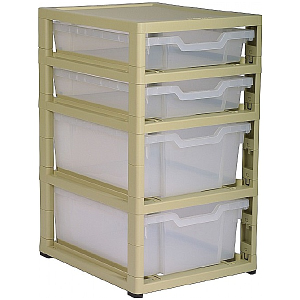 Gratstack Single Column Unit With 2 Shallow and 2 Deep Trays