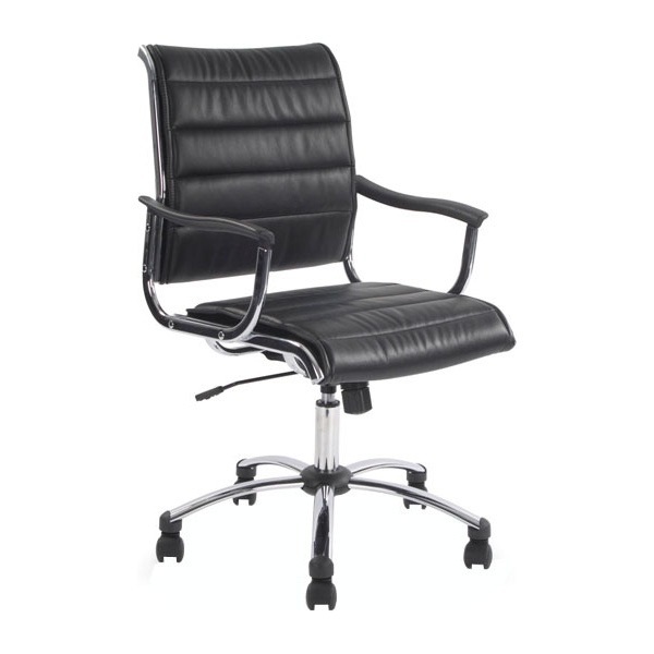 Noire Black Leather Look Manager Chair