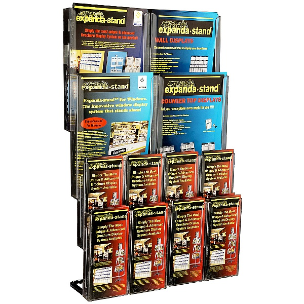Clear Leaflet Dispenser 4x A4 & 8 Third A4 Pockets