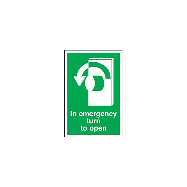 In Emergency Turn To Open (Left) Sign