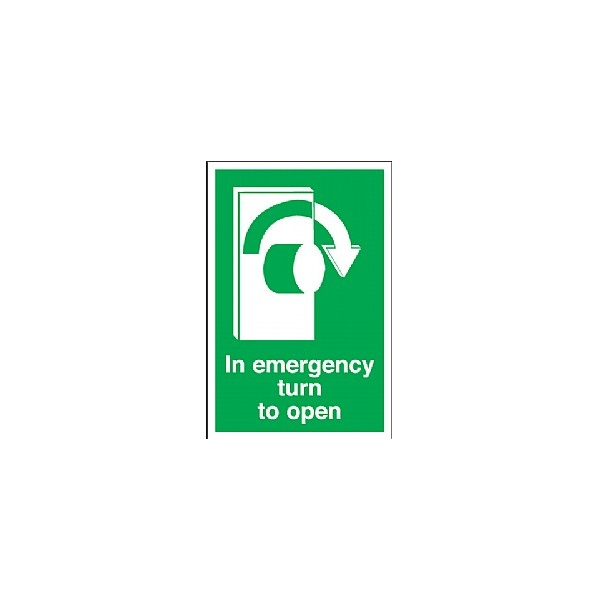 In Emergency Turn To Open (Right) Sign