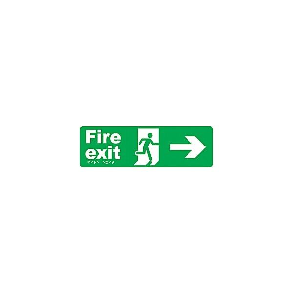 Braille Fire Exit Right Arrow Sign