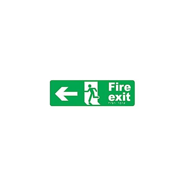 Braille Fire Exit Left Arrow Sign