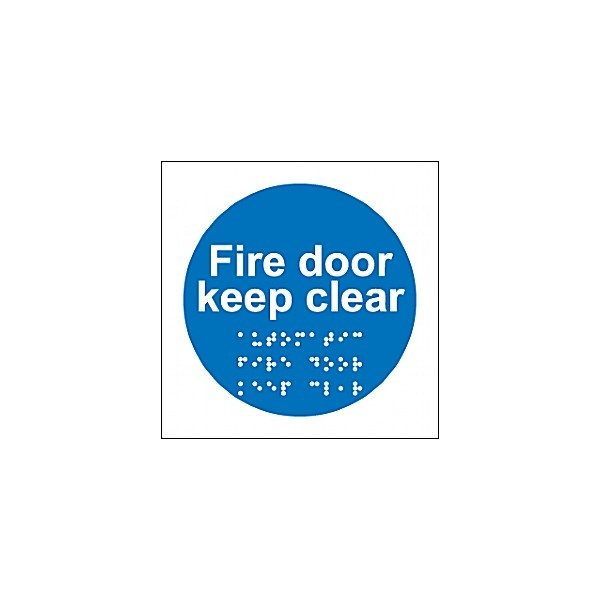 Braille Fire Door Keep Clear Sign