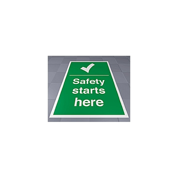 Safety Starts Here Floor Sign