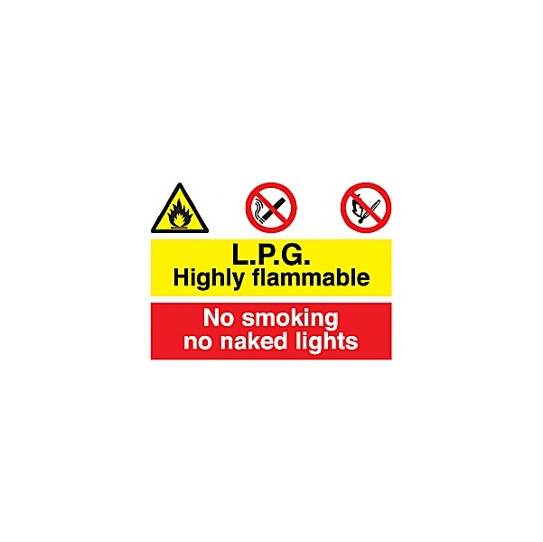 L.P.G. Highly Flammable No Smoking No Naked Lights Sign