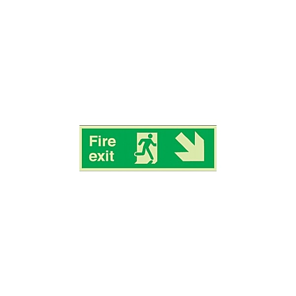 Fire Exit Diagonal Right Down Arrow Gemglow Sign
