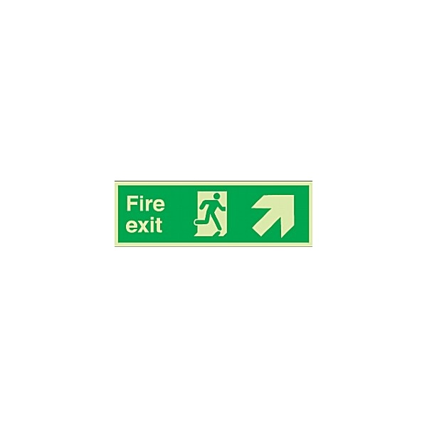 Fire Exit Diagonal Right Up Arrow Gemglow Sign