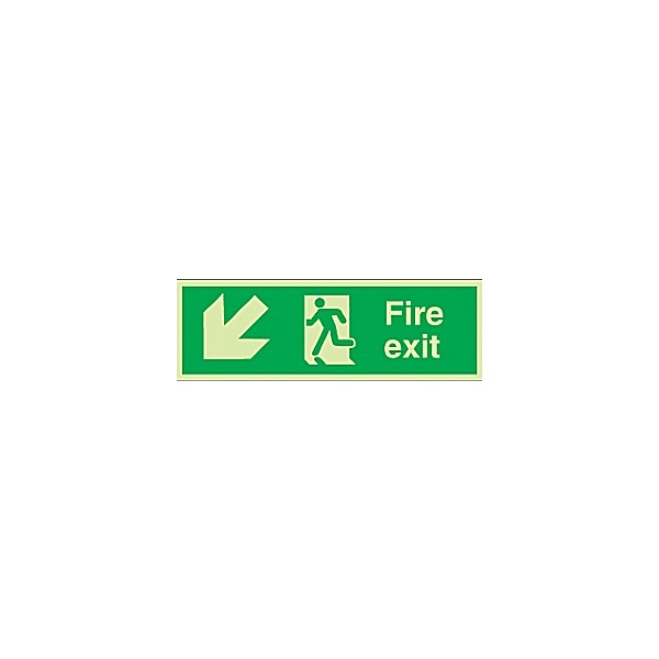 Fire Exit Diagonal Left Down Arrow Gemglow Sign
