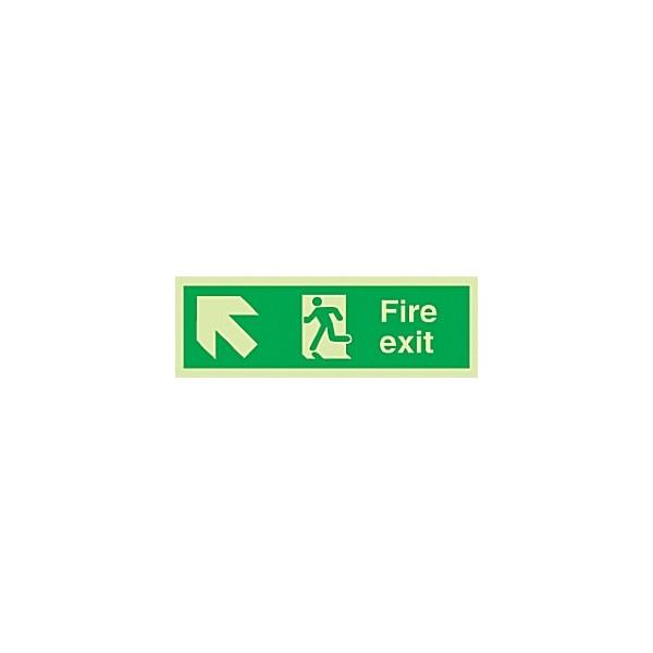 Fire Exit Diagonal Left Up Arrow Gemglow Sign