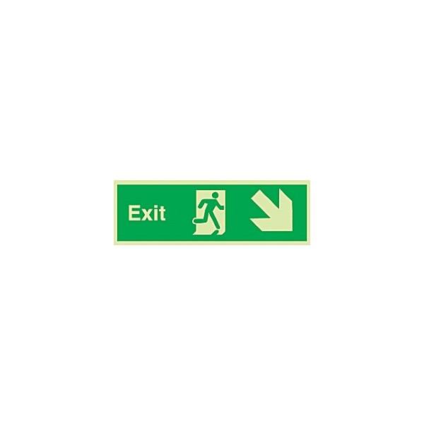 Fire Exit Down Diagonal Right Arrow Gemglow Sign