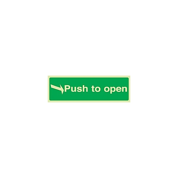 Right Arrow Push To Open Gemglow Sign