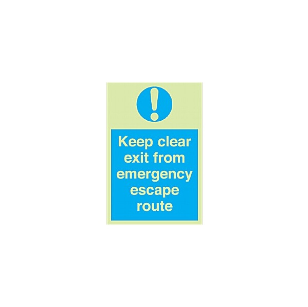 Keep Clear Exit From Emergency Escape Route Gemglow Sign