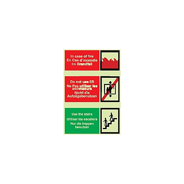 Multi Lingual In Case Of Fire...Gemglow Sign
