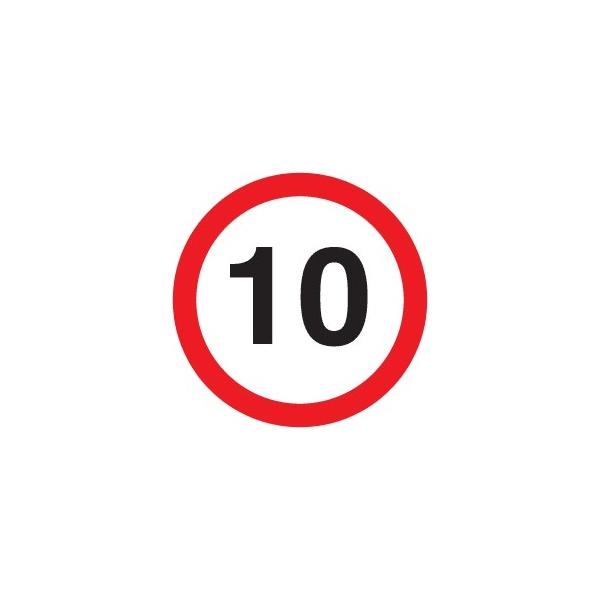 '10' non reflective Sign
