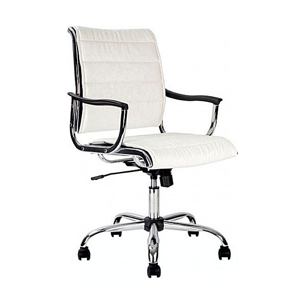 Polar White Leather Look Swivel Chair