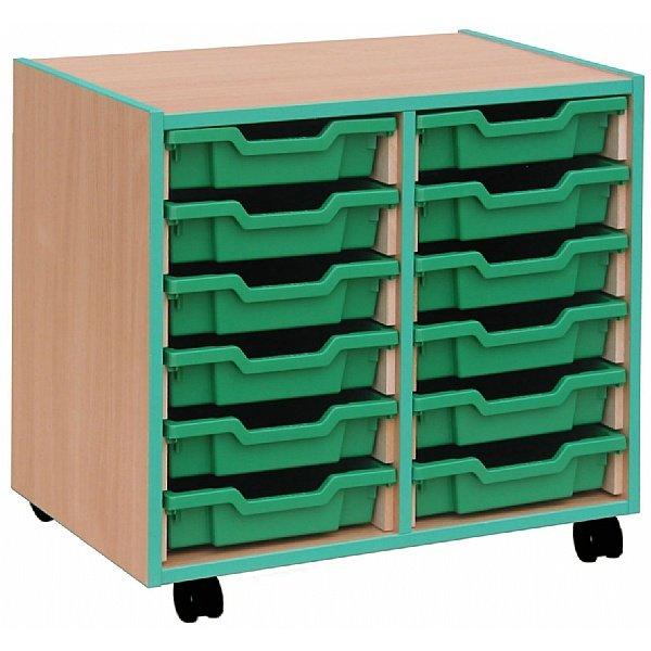 Coloured Edge 12 Tray Shallow Storage Unit