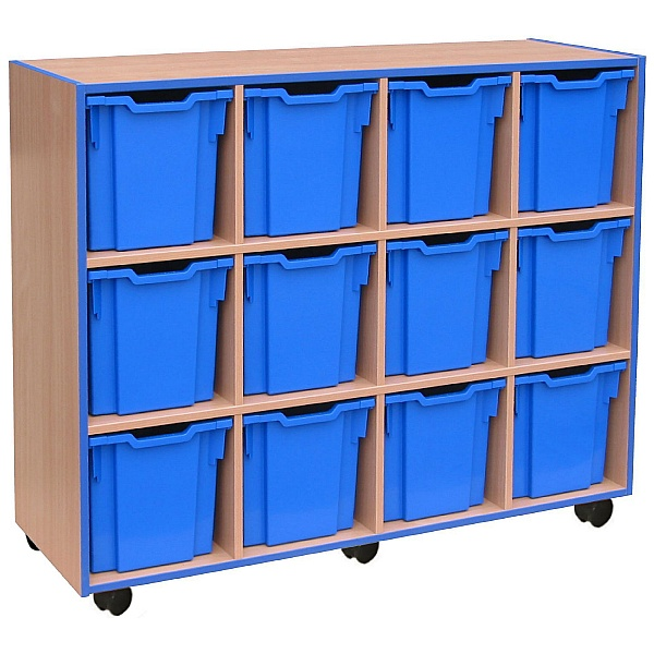 Coloured Edge 12 Tray Jumbo Storage Unit