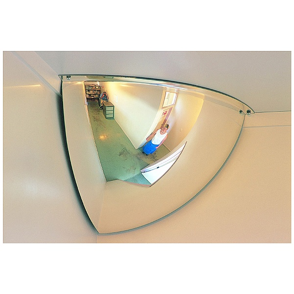 Interior Hemisphere Convex Quarter Face Mirror