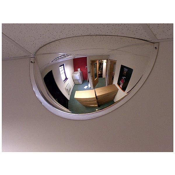 Interior Hemisphere Convex Half Face Mirror