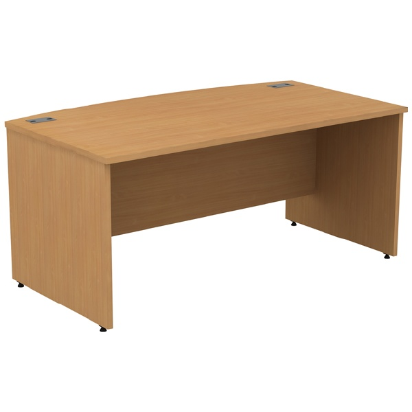 Alpha Plus Panel End Bow Front Rectangular Desk