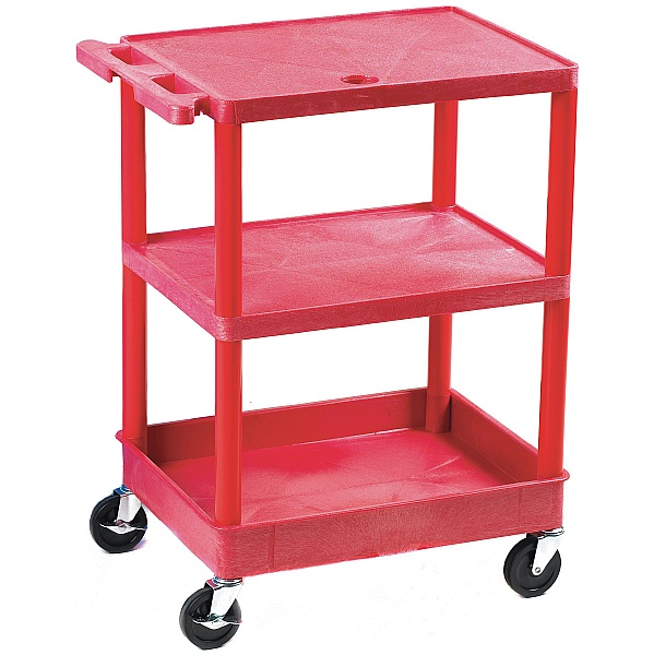 3 Shelf Service Trolleys With Coloured Legs and Shelves