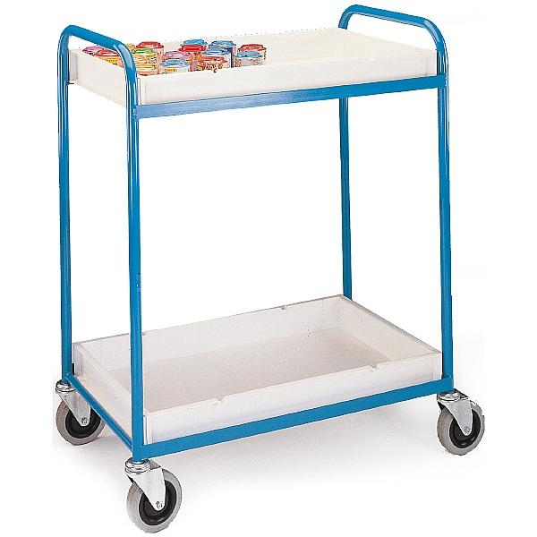 2 Shelf Plastic Tray Trolley