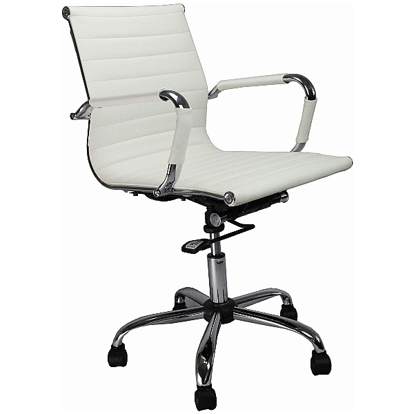 Reflex White Leather Effect Swivel Chair