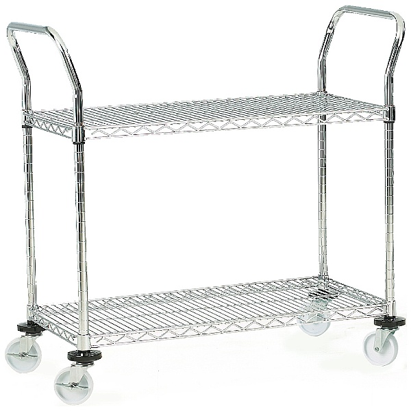 2 Shelf Chrome Plated Wire Trolleys