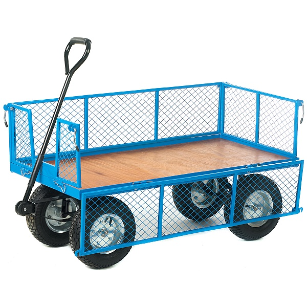 Platform Truck With Mesh Sides and Plywood Base